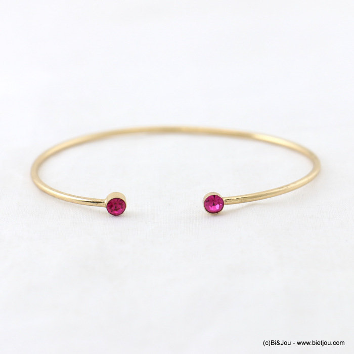 bracelet 0217940-28 open thin bangle minimalist coloured rhinestone 55mm metal