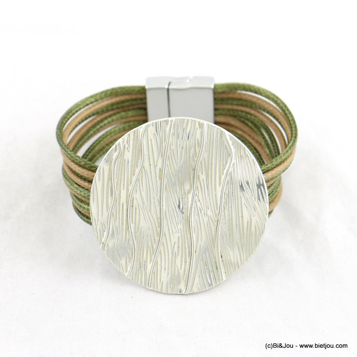 bracelet 0218003-07 multi-strand waxed cotton cords 20x190mm magnetic clasp 47mm metal coin