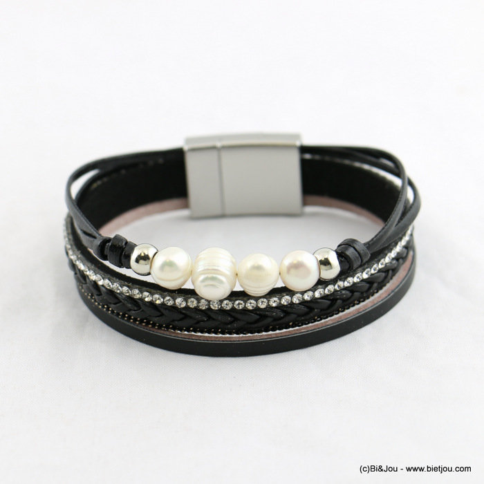bracelet 0218008-01 magnetic multi-layered freshwater pearls faux-leather 15x185mm synthetic-metal