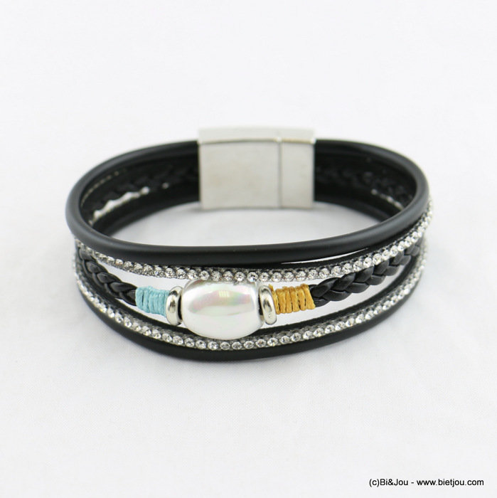 bracelet 0218009-01 magnetic multi-layered faux-pearl faux-leather 15x185mm synthetic-acrylic-strass-metal
