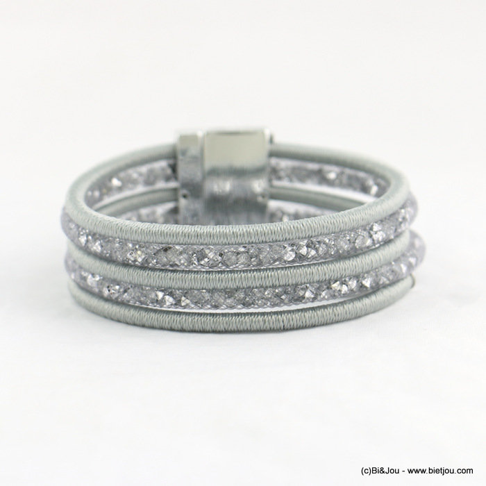 bracelet 0218051-13 polyester cord metallized thread cuff magnetic clasp 22x190mm métal-cristal