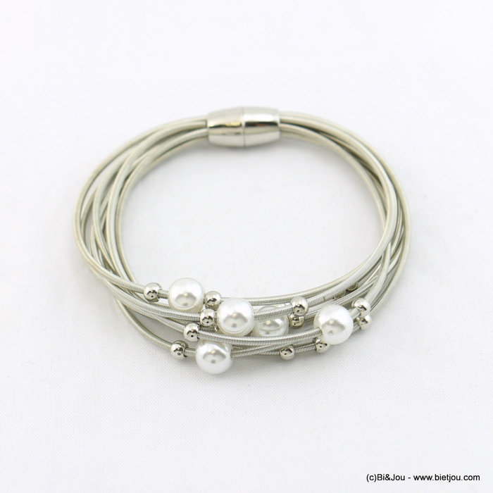 bracelet 0218057-13 women multi-row spring metal faux-pearl acrylic magnetic clasp