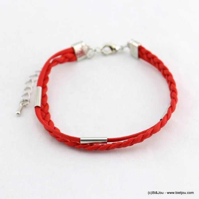 bracelet 0218069-12 women braided cord synthetic pu metal