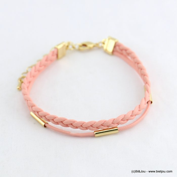 bracelet 0218069-18 women braided cord pu synthetic metal