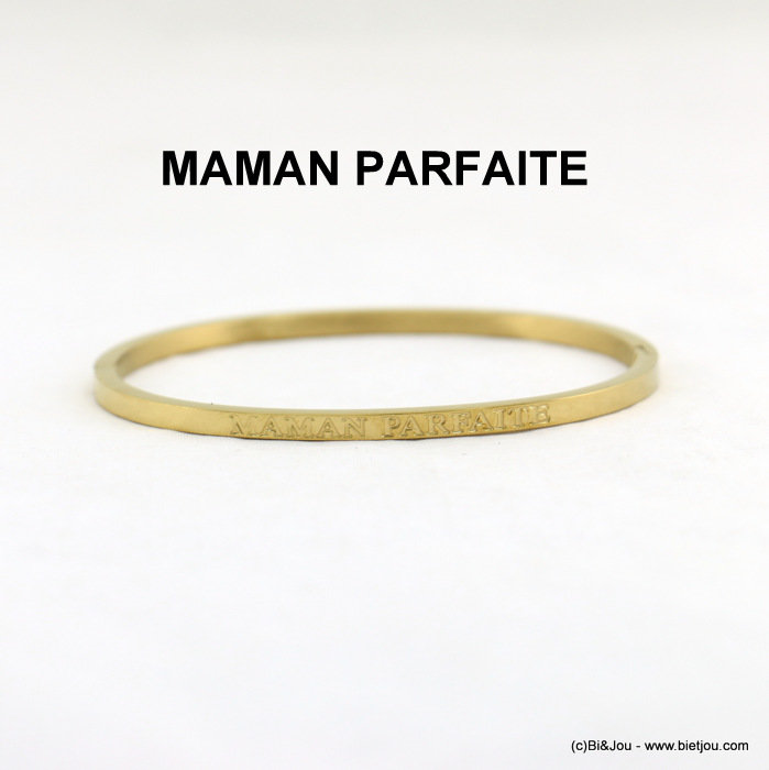 "bracelet 0218099-14 openable bangle message ""MAMAN PARFAITE"" stainless steel 57x3mm"