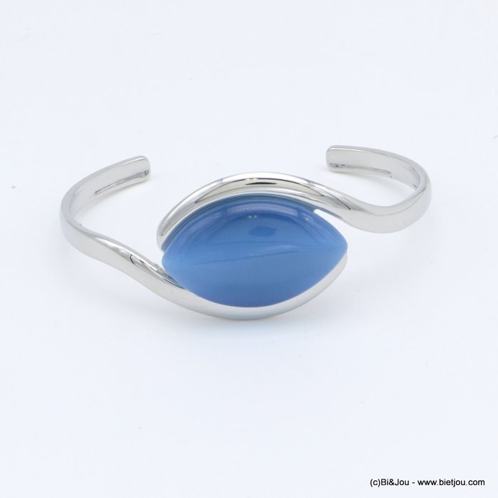 "bracelet 0218511-09 ""cat eye"" open bangle metal-glass 25x60mm"