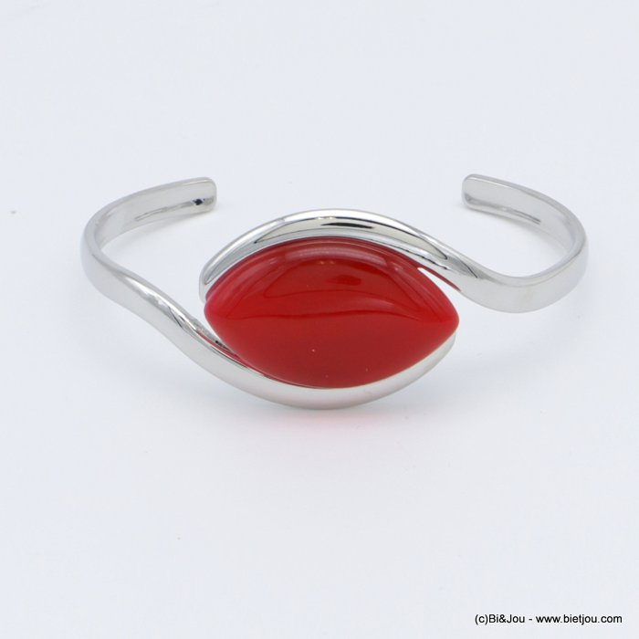 "bracelet 0218511-12 ""cat eye"" open bangle metal-glass 25x60mm"