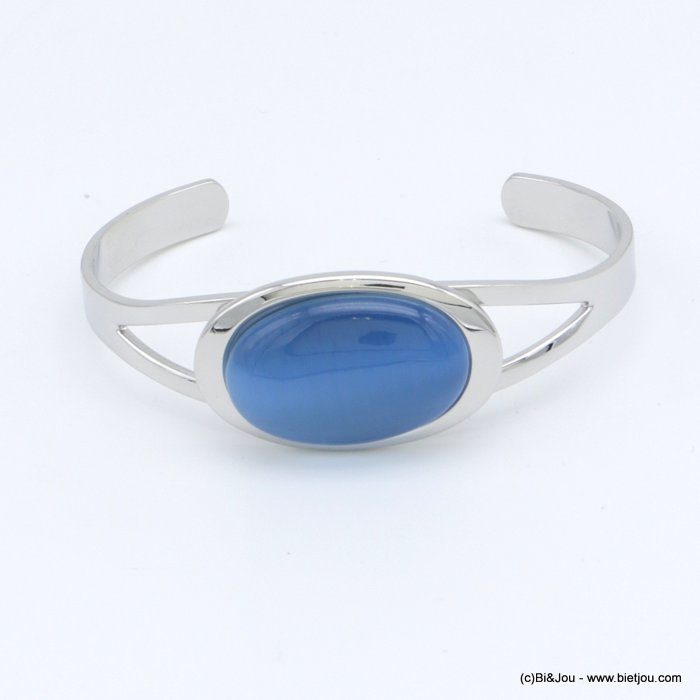 "bracelet 0218512-09 ""cat eye"" oval open bangle metal-glass 20x60mm"