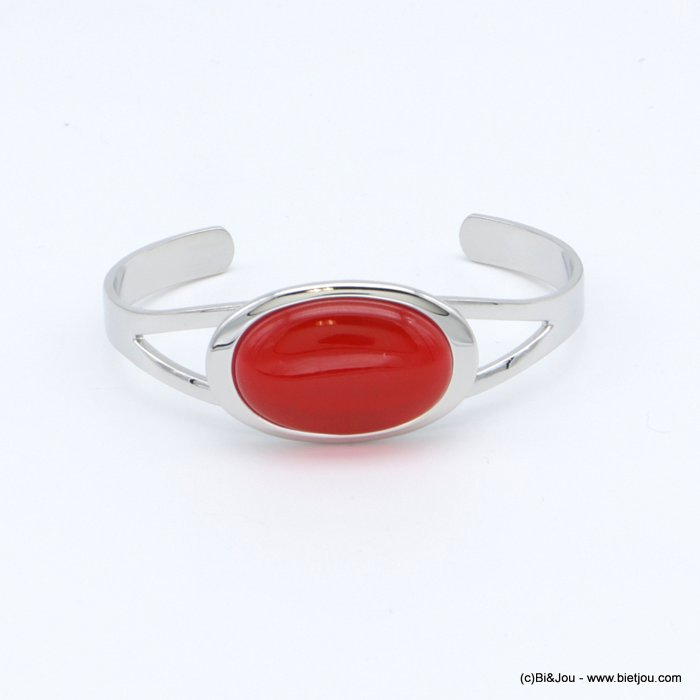 "bracelet 0218512-12 ""cat eye"" oval open bangle metal-glass 20x60mm"