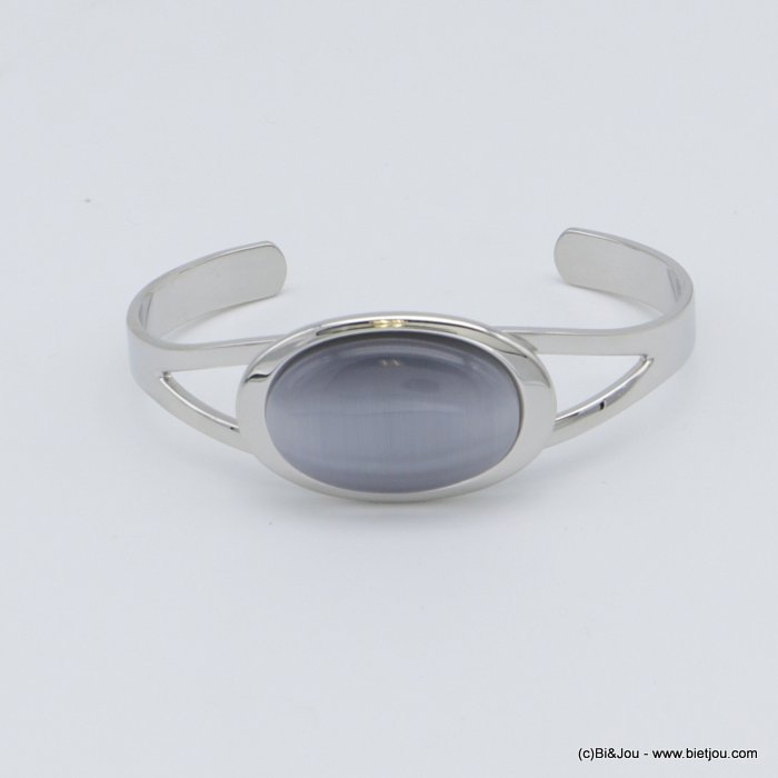 "bracelet 0218512-25 ""cat eye"" oval open bangle metal-glass 20x60mm"