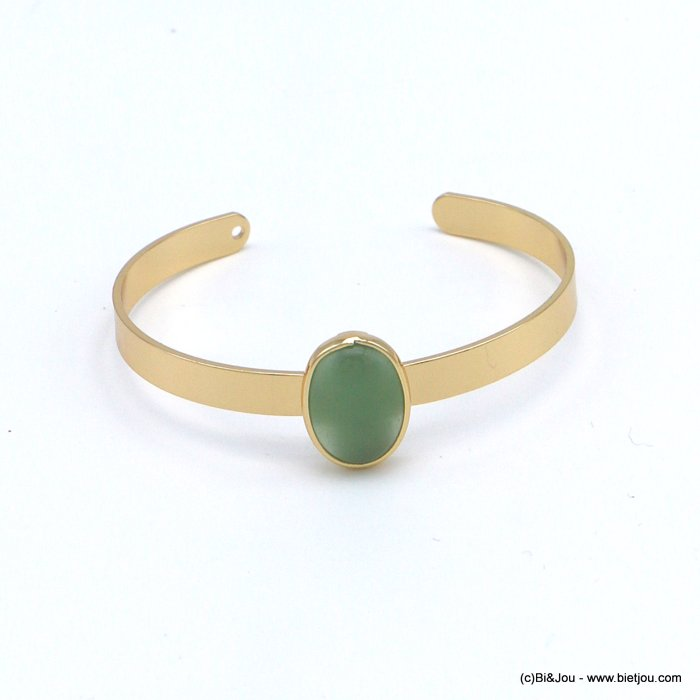 bracelet 0218545-07 open bangle oval natural stone 20x13mm golden metal 6x60mm