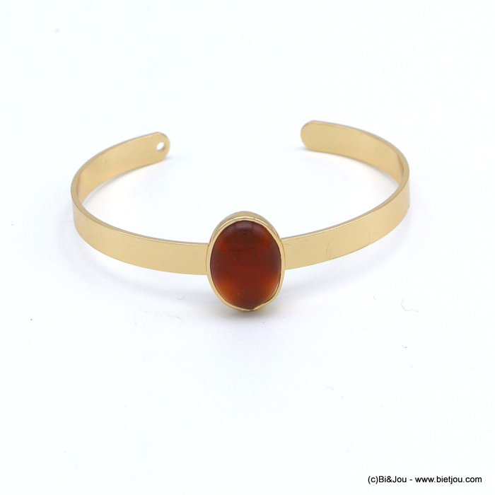 bracelet 0218545-11 open bangle oval natural stone 20x13mm golden metal 6x60mm