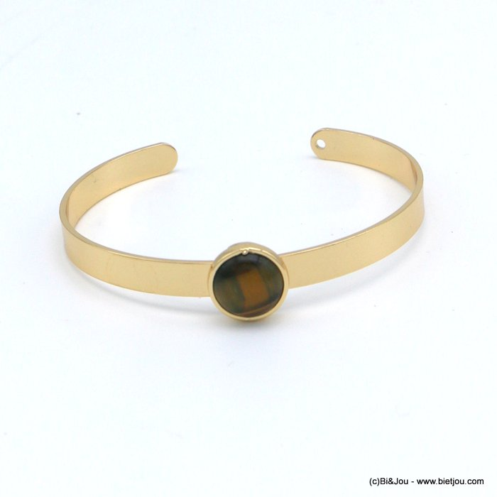 bracelet 0218546-02 open bangle round natural stone 12mm golden metal 6x60mm
