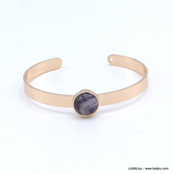bracelet 0218546-04 open bangle round natural stone 12mm golden metal 6x60mm