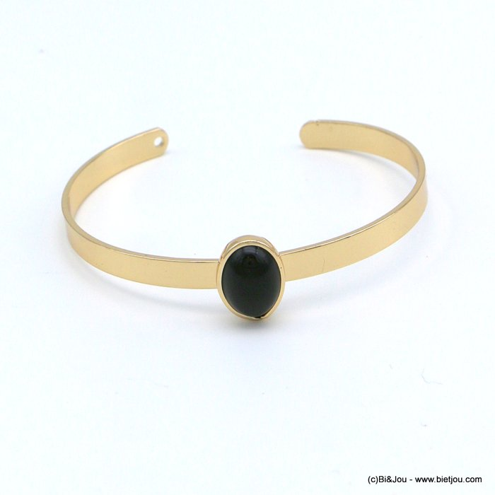 bracelet 0218547-01 open bangle oval onyx natural stone 10x12mm golden metal 5x60mm