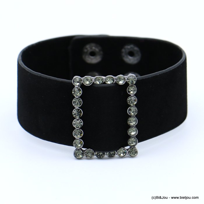 bracelet 0218559-01 cuff velvet rhinestone buckle adjustable snap buttons synthetic 26x210mm
