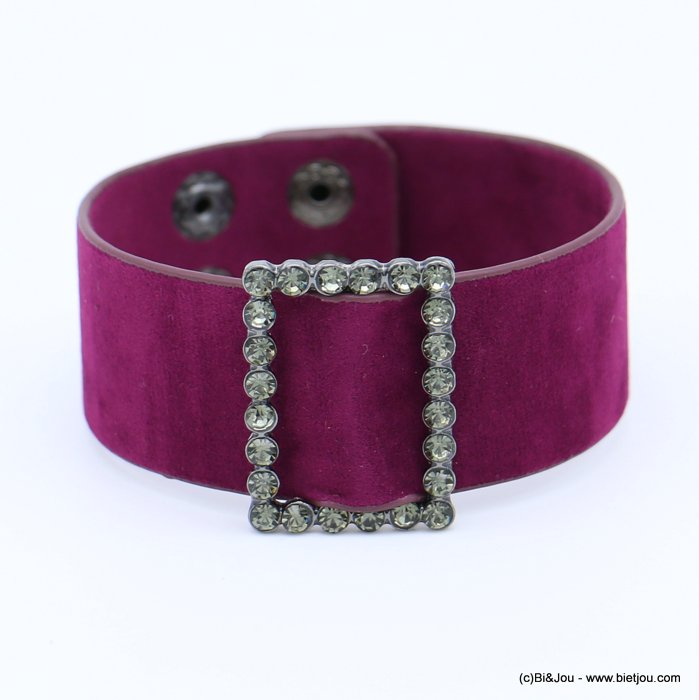 bracelet 0218559-04 cuff velvet rhinestone buckle adjustable snap buttons synthetic 26x210mm