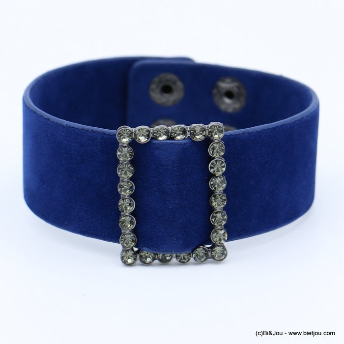 bracelet 0218559-09 cuff velvet rhinestone buckle adjustable snap buttons synthetic 26x210mm