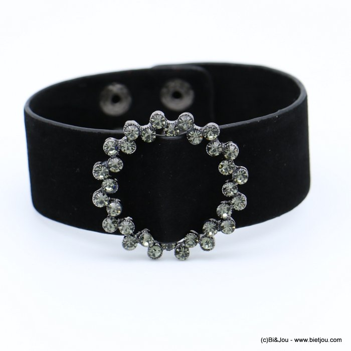 bracelet 0218560-01 cuff velvet rhinestone round buckle adjustable snap buttons synthetic 26x210mm