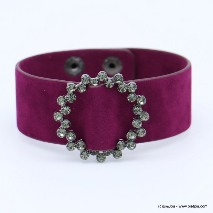 bracelet 0218560-04 cuff velvet rhinestone round buckle adjustable snap buttons synthetic 26x210mm