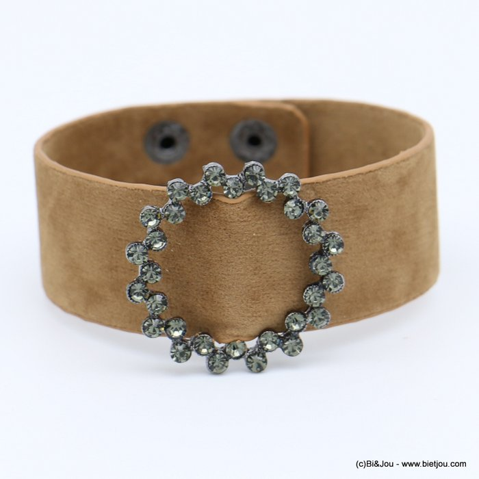 bracelet 0218560-06 cuff velvet rhinestone round buckle adjustable snap buttons synthetic 26x210mm
