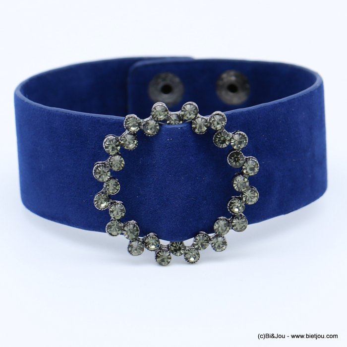 bracelet 0218560-09 cuff velvet rhinestone round buckle adjustable snap buttons synthetic 26x210mm