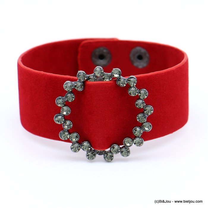 bracelet 0218560-12 cuff velvet rhinestone round buckle adjustable snap buttons synthetic 26x210mm