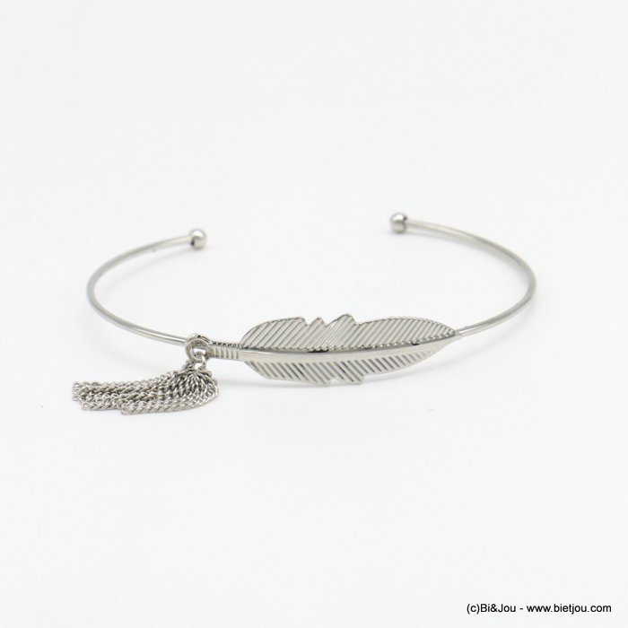 bracelet 0218570-13 open thin bangle women minimalist metallic tassel leaf