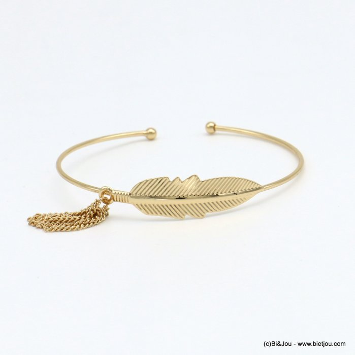 bracelet 0218570-14 open thin bangle women minimalist metallic tassel leaf