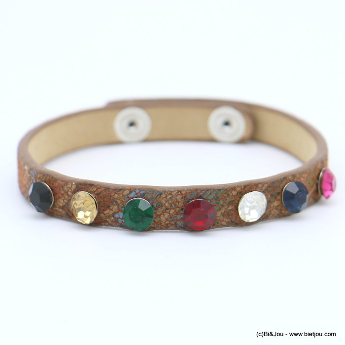 bracelet 0218573-02 faux-leather rhinestone coloured adjustable snap buttons synthetic 8x215mm