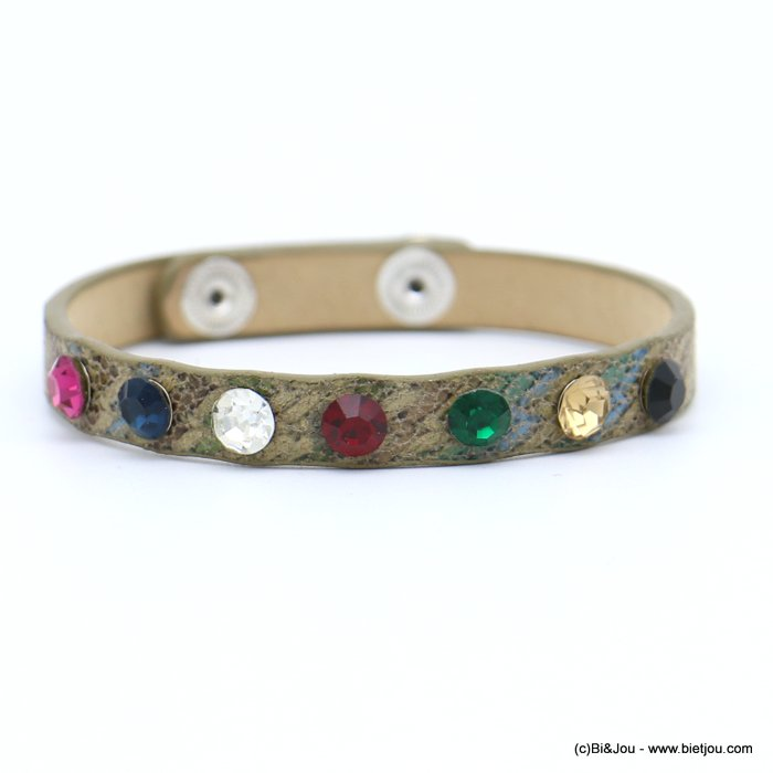 bracelet 0218573-06 faux-leather rhinestone coloured adjustable snap buttons synthetic 8x215mm