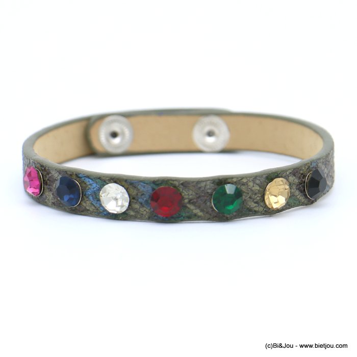 bracelet 0218573-07 faux-leather rhinestone coloured adjustable snap buttons synthetic 8x215mm