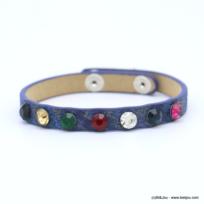 bracelet 0218573-09 faux-leather rhinestone coloured adjustable snap buttons synthetic 8x215mm