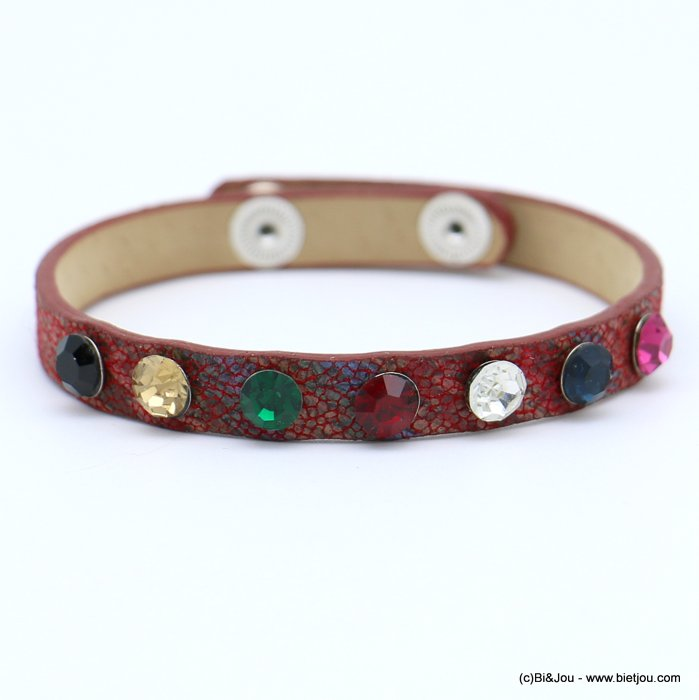 bracelet 0218573-10 faux-leather rhinestone coloured adjustable snap buttons synthetic 8x215mm