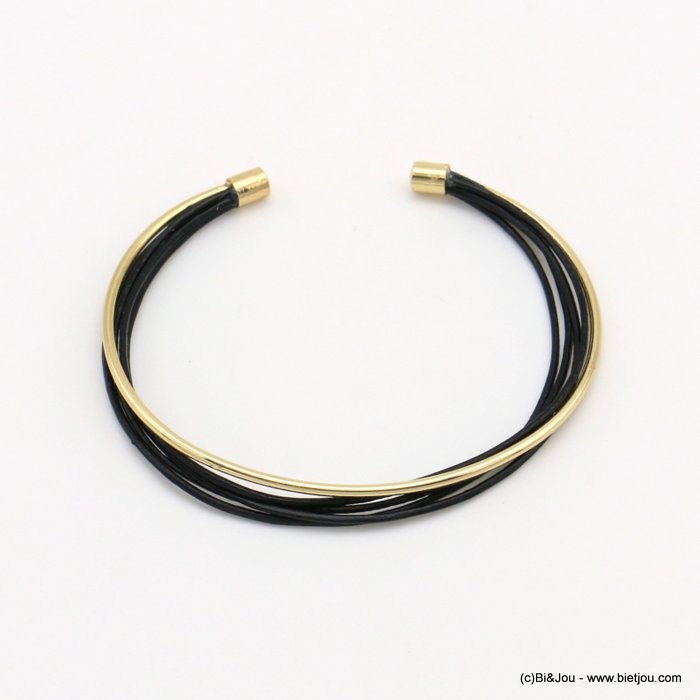 bracelet 0219003-01 metal open bangle genuine leather multistring
