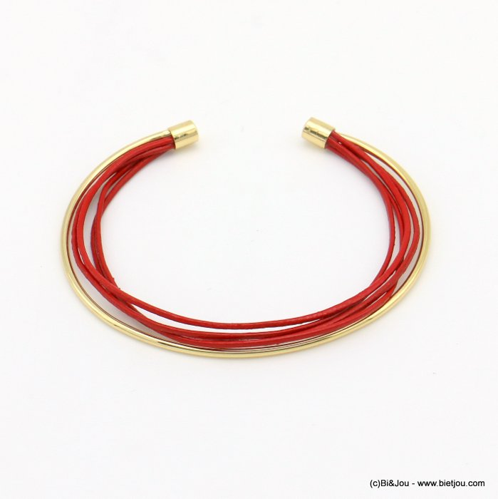 bracelet 0219003-12 metal open bangle genuine leather multistring