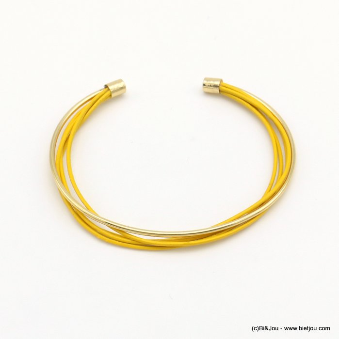 bracelet 0219003-14 metal open bangle genuine leather multistring