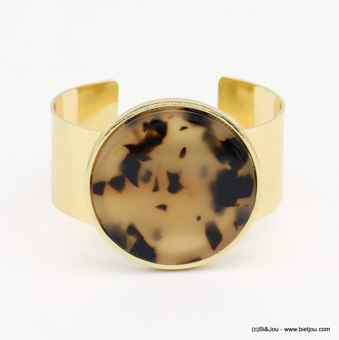 bracelet 0219008-06 metal open cuff resin tortoise shell medallion 25-42mm