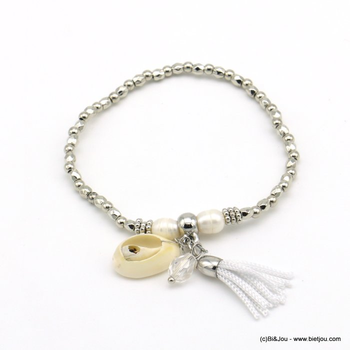 bracelet 0219014-13 elastic cowry shell thread tassel metallized resin