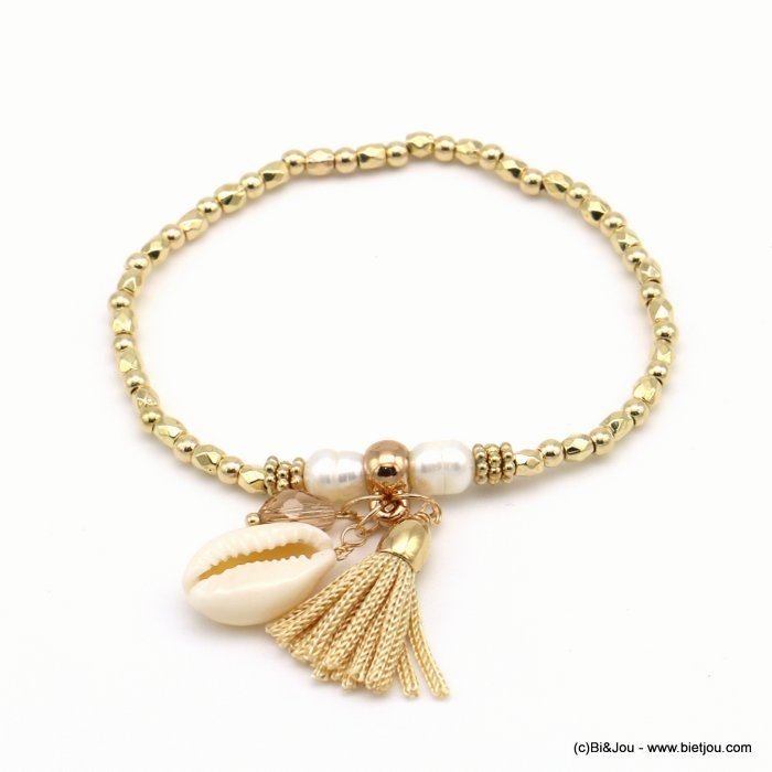 bracelet 0219014-14 elastic cowry shell thread tassel metallized resin