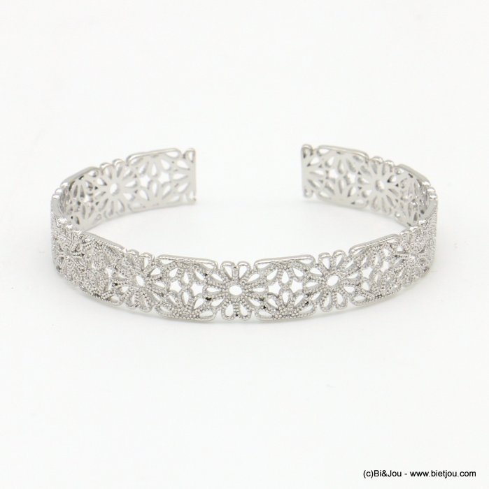 bracelet 0219041-13 lace flower rose window metal open bangle 9x60mm