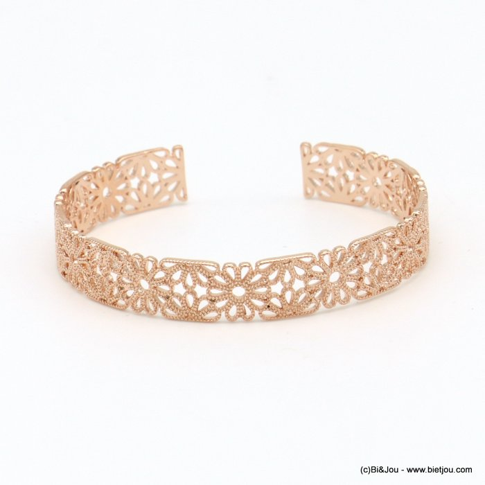 bracelet 0219041-23 lace flower rose window metal open bangle 9x60mm