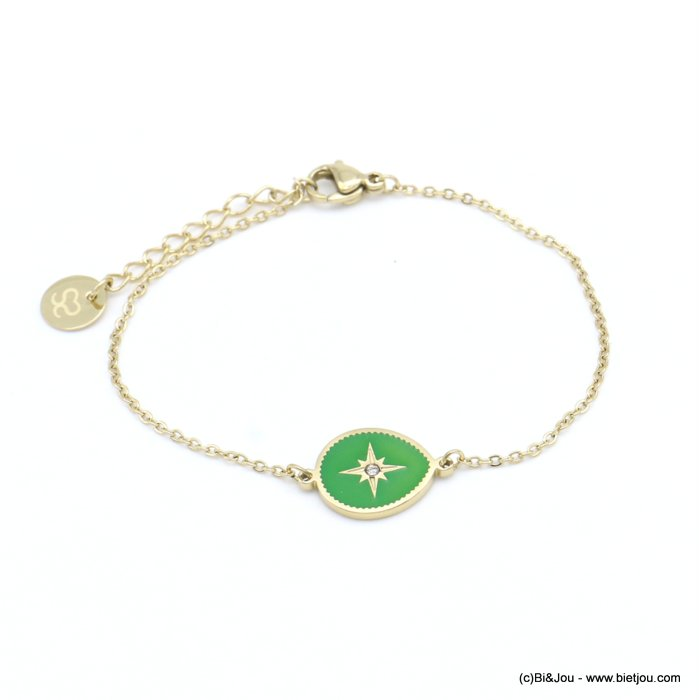 bracelet 0219054-07 drop stainless steel-enamel-strass