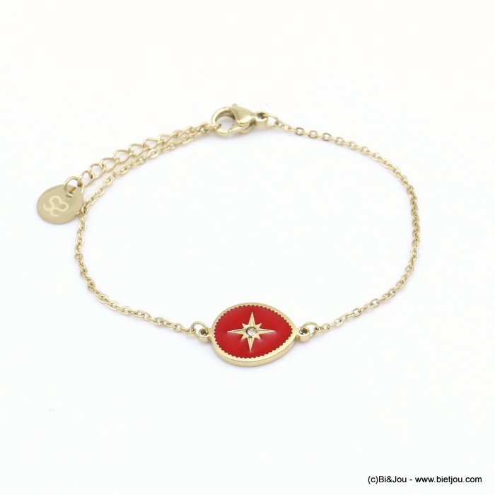 bracelet 0219054-12 drop stainless steel-enamel-strass