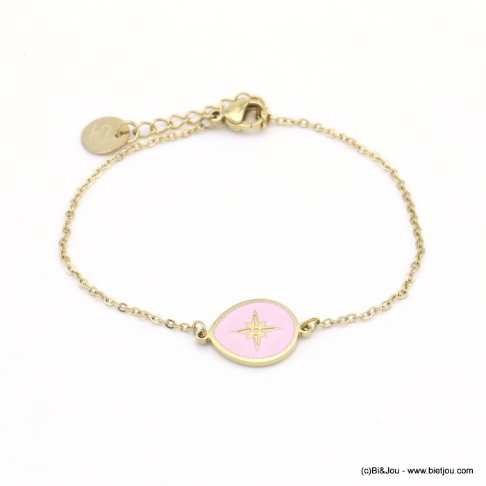 bracelet 0219054-18 drop stainless steel-enamel-strass