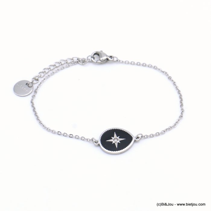 bracelet 0219055-01 drop stainless steel-enamel-strass