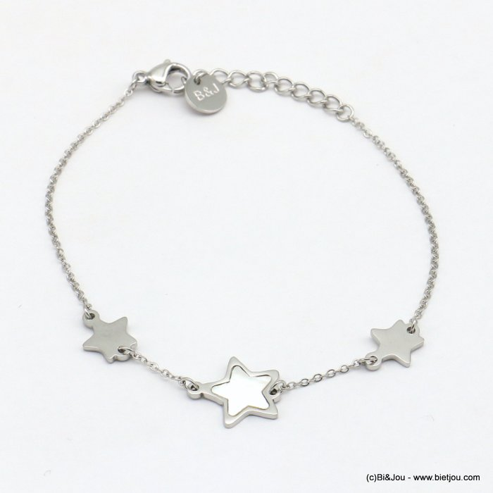 bracelet 0219075-13 stars, one with shell, slave link chain, stainless steel