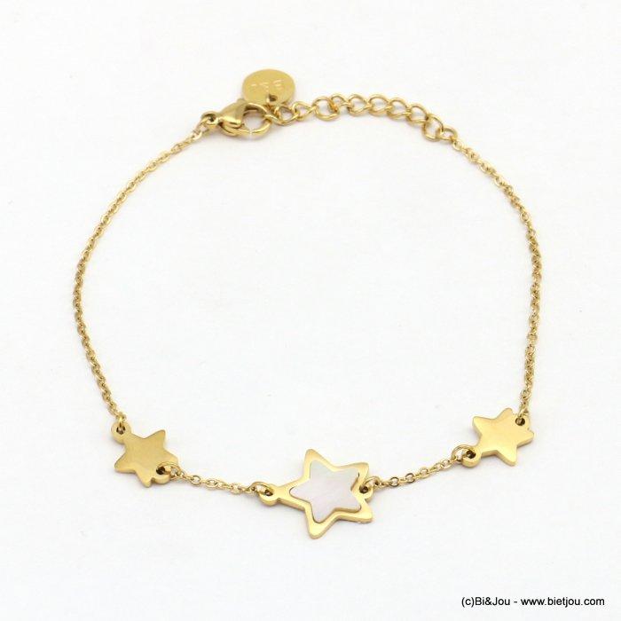 bracelet 0219075-14 stars, one with shell, slave link chain, stainless steel