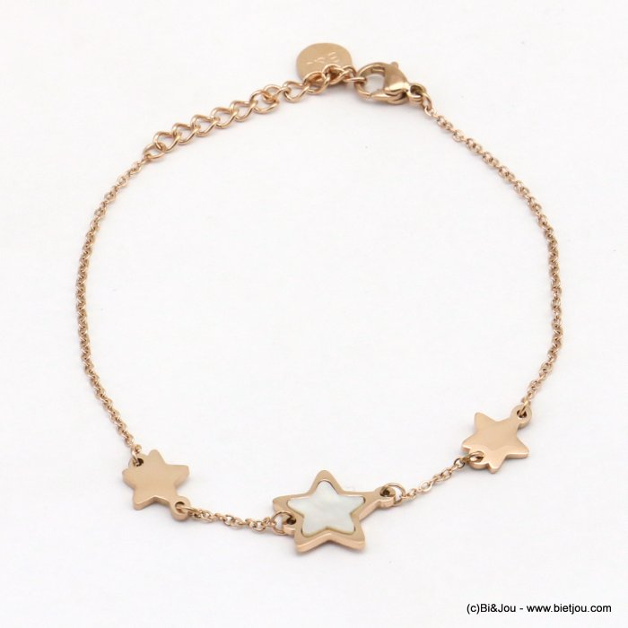 bracelet 0219075-23 stars, one with shell, slave link chain, stainless steel
