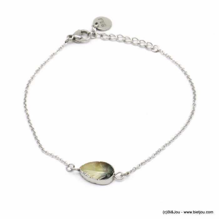 bracelet 0219077-13 shell leaf piece, slave link chain, stainless steel